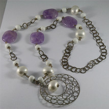 .925 SILVER RHODIUM NECKLACE 33,46 In, AMETHYST, AGATE, REBUILT PEARLS, PENDANT. image 1