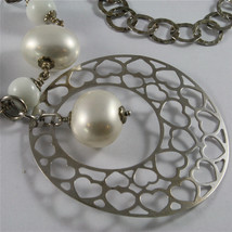 .925 SILVER RHODIUM NECKLACE 33,46 In, AMETHYST, AGATE, REBUILT PEARLS, PENDANT. image 2