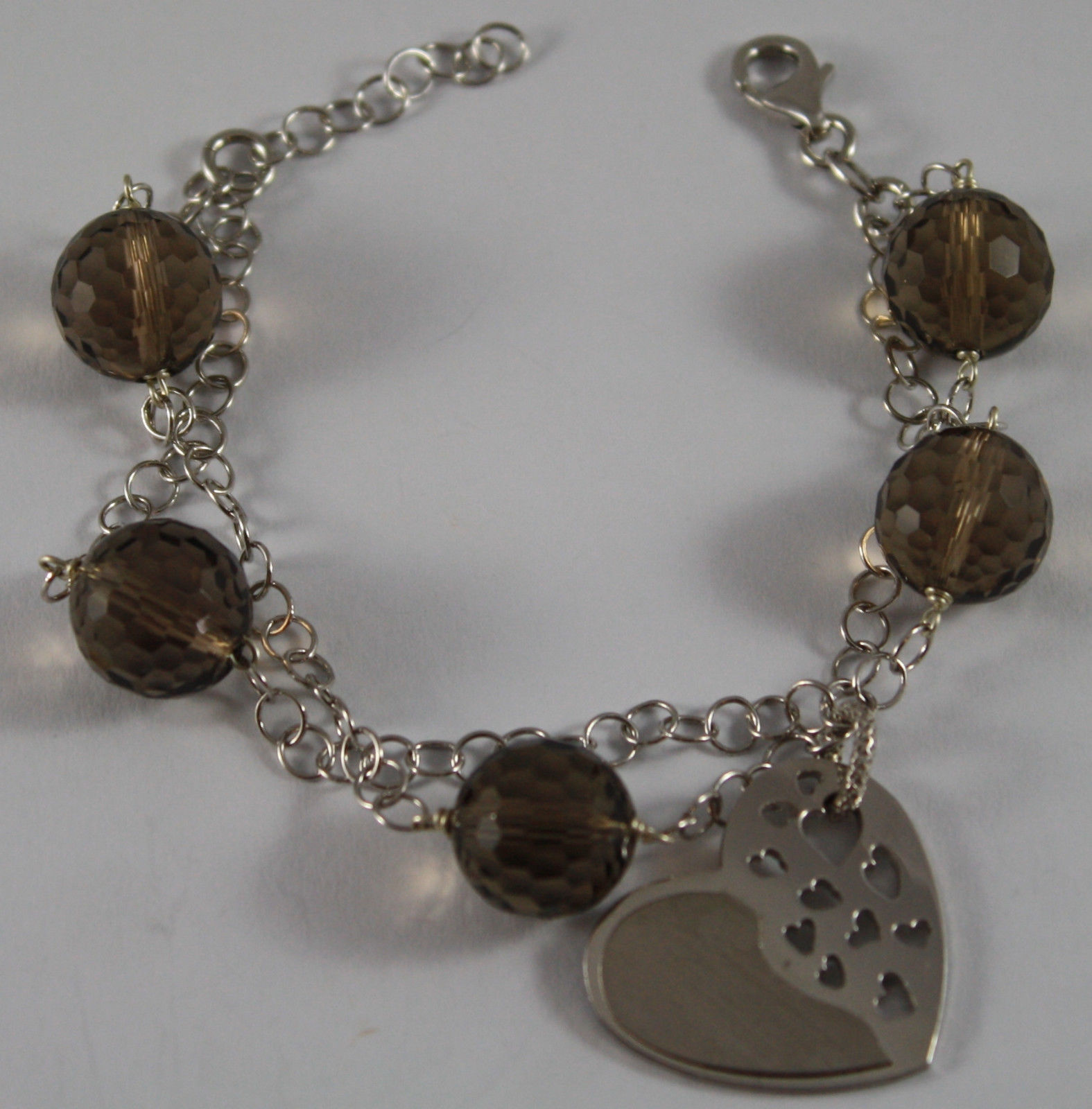.925 RHODIUM SILVER BRACELET WITH SMOKY QUARTZ AND GLOSSY AND SATIN HEART