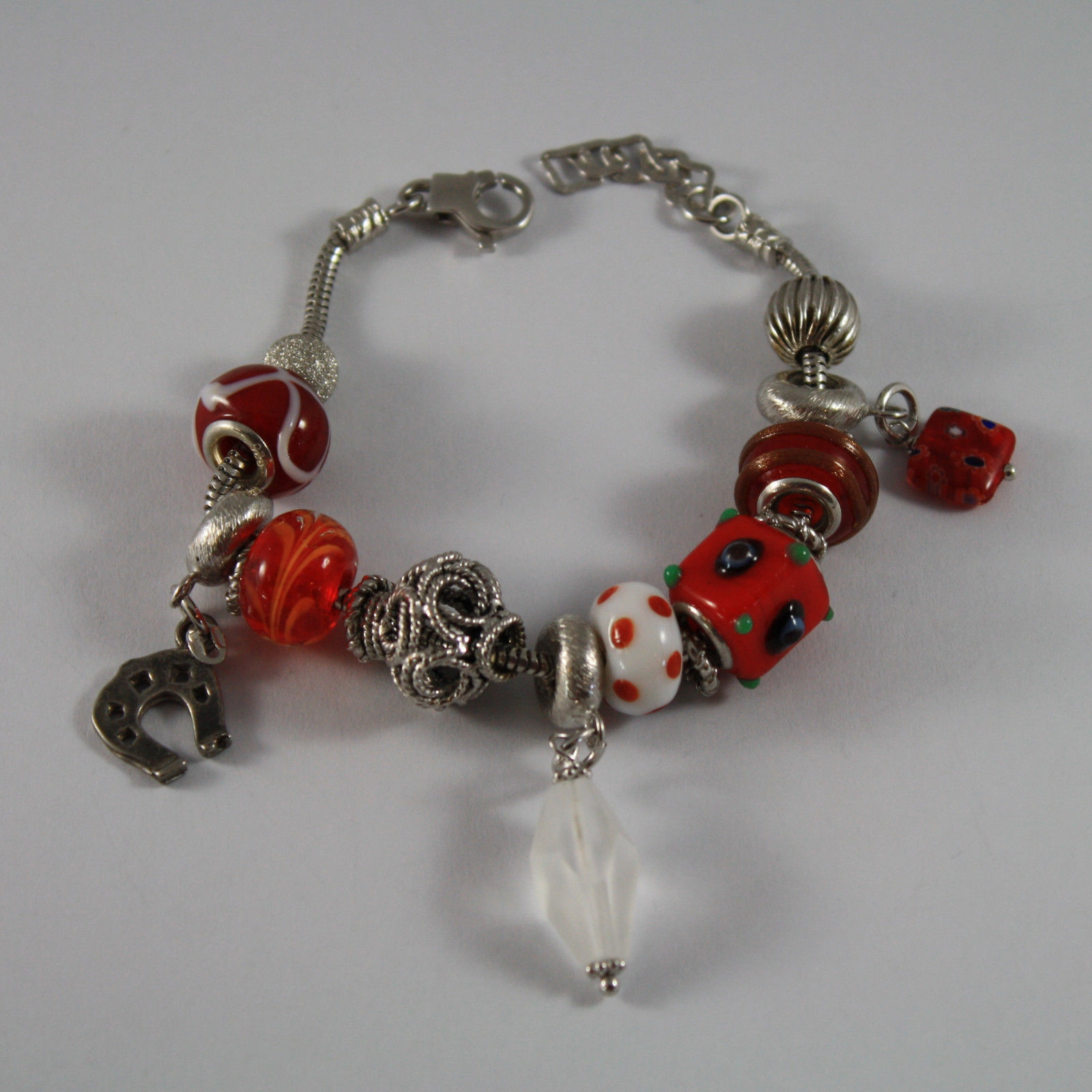 .925 RHODIUM SILVER BRACELET WITH MURRINE AND SLIDING PENDANTS