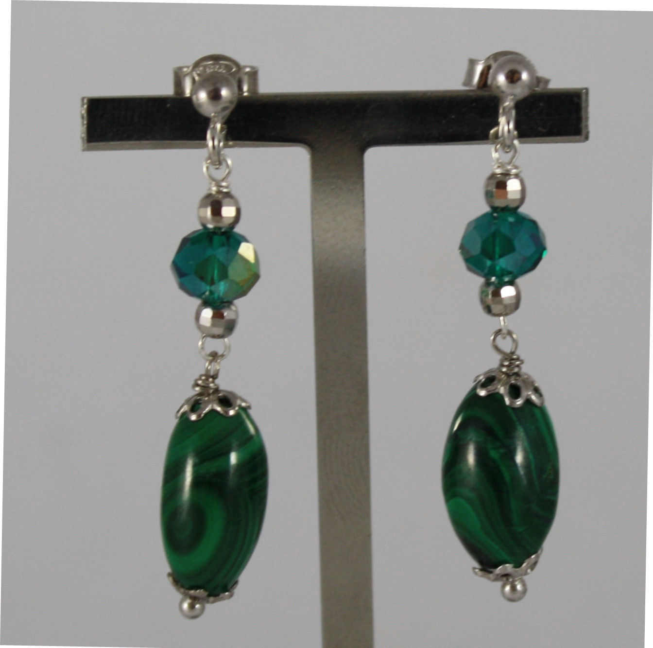 .925 RHODIUM SILVER EARRINGS WITH GREEN MALACHITE AND GREEN CRYSTALS