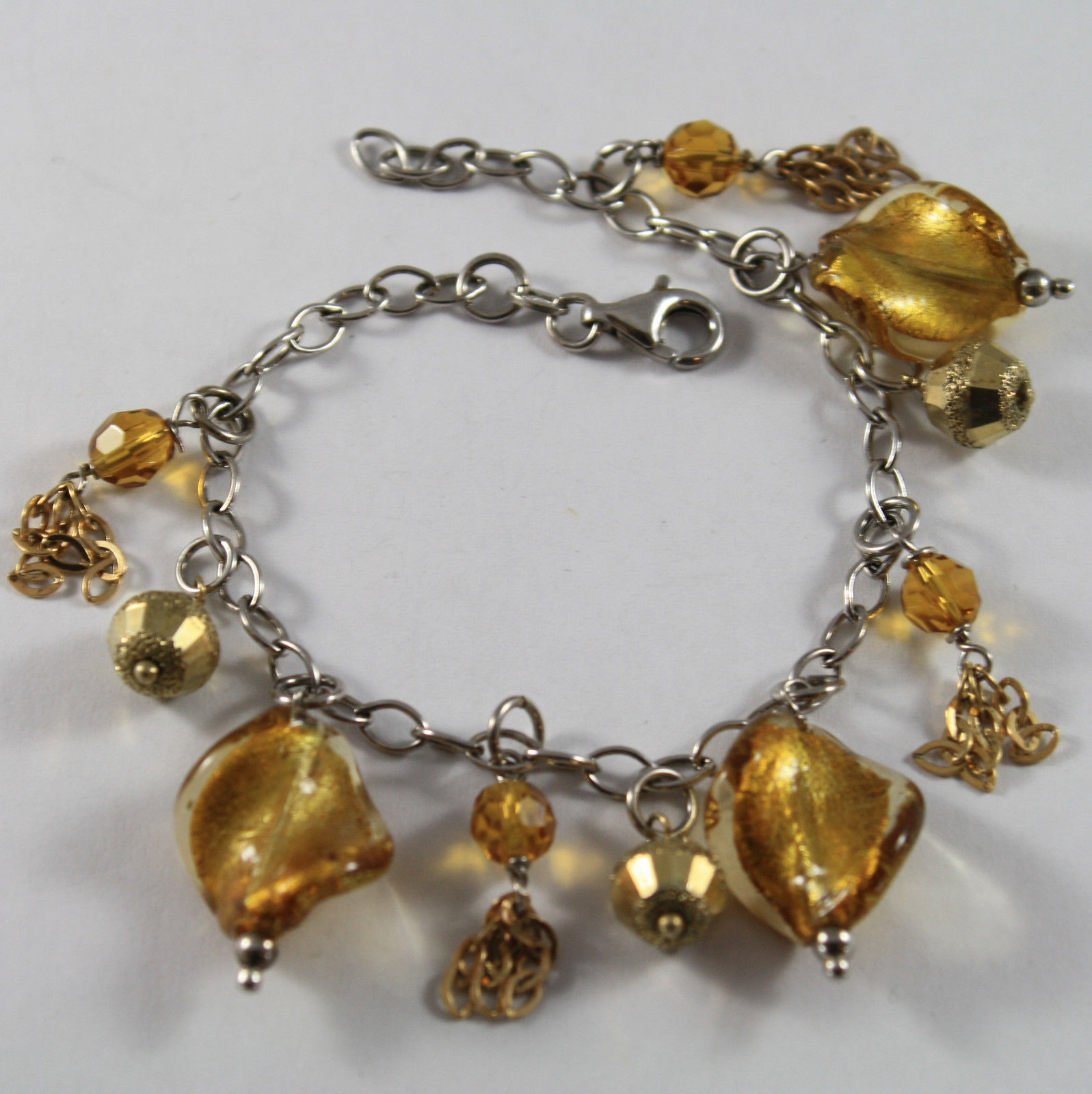 .925 RHODIUM SILVER BRACELET WITH GOLDEN SPHERE, YELLOW CRISTAL AND MURRINA