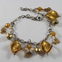 .925 RHODIUM SILVER BRACELET WITH GOLDEN SPHERE, YELLOW CRISTAL AND MURRINA image 1