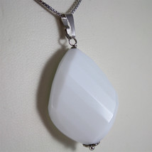 .925 RHODIUM SILVER NECKLACE, WHITE AGATE PENDANT, FACETED CUT image 3