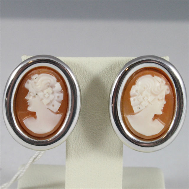 SOLID 18K WHITE GOLD CAMEO EARRINGS, WITH CLIPS, MADE IN ITALY