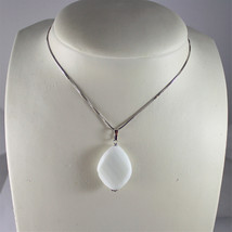 .925 RHODIUM SILVER NECKLACE, WHITE AGATE PENDANT, FACETED CUT image 2