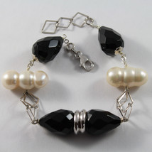 .925 RHODIUM SILVER BRACELET WITH DROPS OF BLACK ONYX AND WHITE BAROQUE PEARLS
