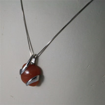 925 STERLING SILVER RHODIUM NECKLACE 17,72 In, RED AGATE PENDANT, VENETIAN MESH. image 4