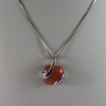 925 STERLING SILVER RHODIUM NECKLACE 17,72 In, RED AGATE PENDANT, VENETIAN MESH. image 1