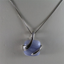 925 STERLING SILVER NECKLACE 17,72 In, BLUE AGATE PENDANT, VENETIAN MESH image 4
