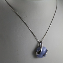 925 STERLING SILVER NECKLACE 17,72 In, BLUE AGATE PENDANT, VENETIAN MESH image 3