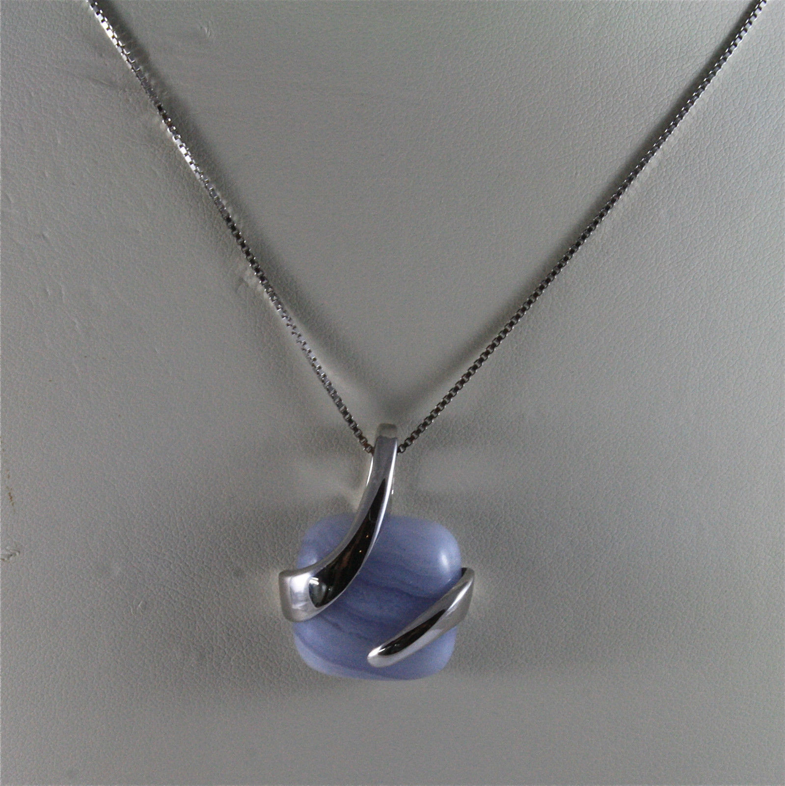 .925 SILVER RHODIUM NECKLACE 17,72 In, NATURAL BLUE AGATE PENDANT, VENETIAN MESH