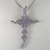 .925 RHODIUM SILVER NECKLACE, 150 EMBEDDED CRISTAL, CROSS SHAPED, SUPREME JEWEL