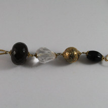 .925 SILVER RHODIUM YELLOW GOLD PLATED NECKLACE WITH SMOKY QUARTZ , WHITE PEARL image 4
