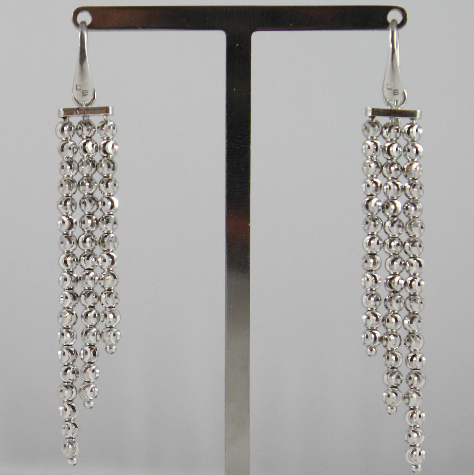 925 RODIUM SILVER OFFICINA BERNARDI EARRINGS THREE WIRE FACETED MADE IN ITALY