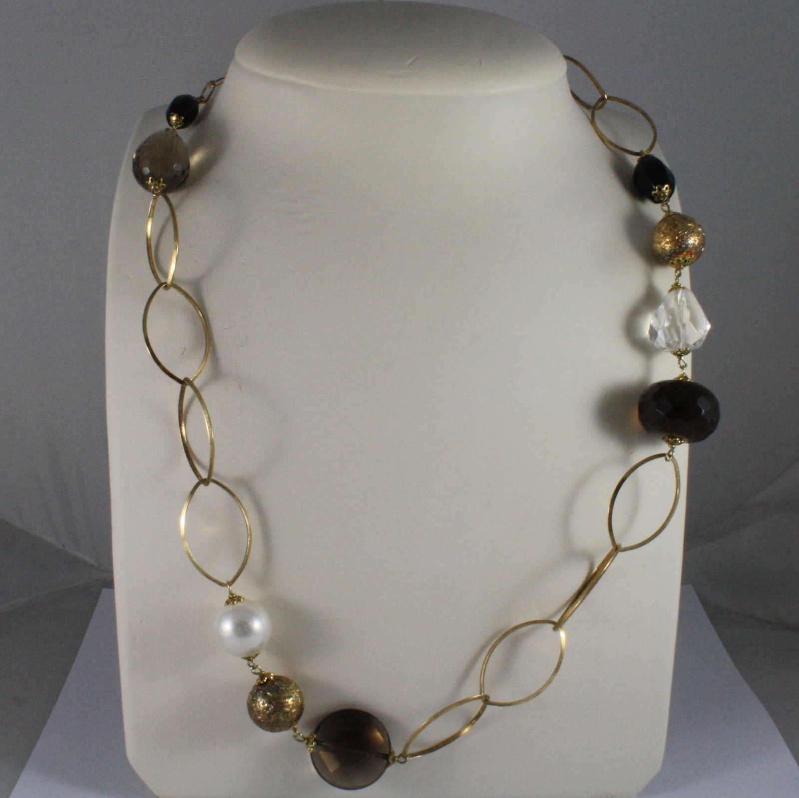 .925 SILVER RHODIUM YELLOW GOLD PLATED NECKLACE WITH SMOKY QUARTZ , WHITE PEARL