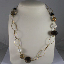 .925 SILVER RHODIUM YELLOW GOLD PLATED NECKLACE WITH SMOKY QUARTZ , WHITE PEARL image 1
