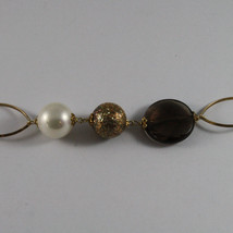 .925 SILVER RHODIUM YELLOW GOLD PLATED NECKLACE WITH SMOKY QUARTZ , WHITE PEARL image 3