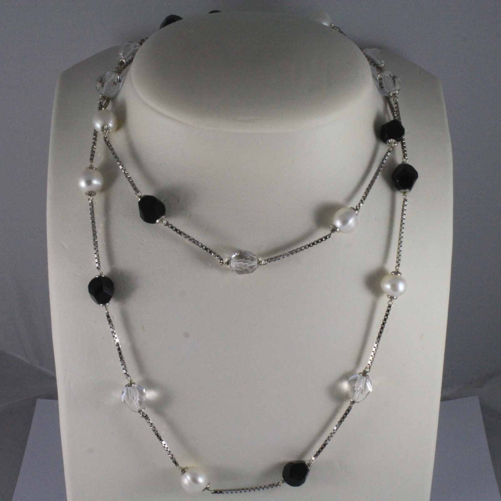 .925 SILVER RHODIUM NECKLACE WITH BLACK ONYX, WHITE PEARLS, TRANSPARENT CRYSTALS