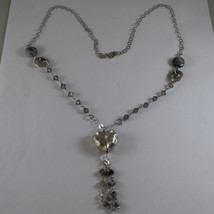 .925 SILVER RHODIUM NECKLACE WITH GRAY QUARTZ, GRAY CRYSTALS AND HEART PENDANT image 2