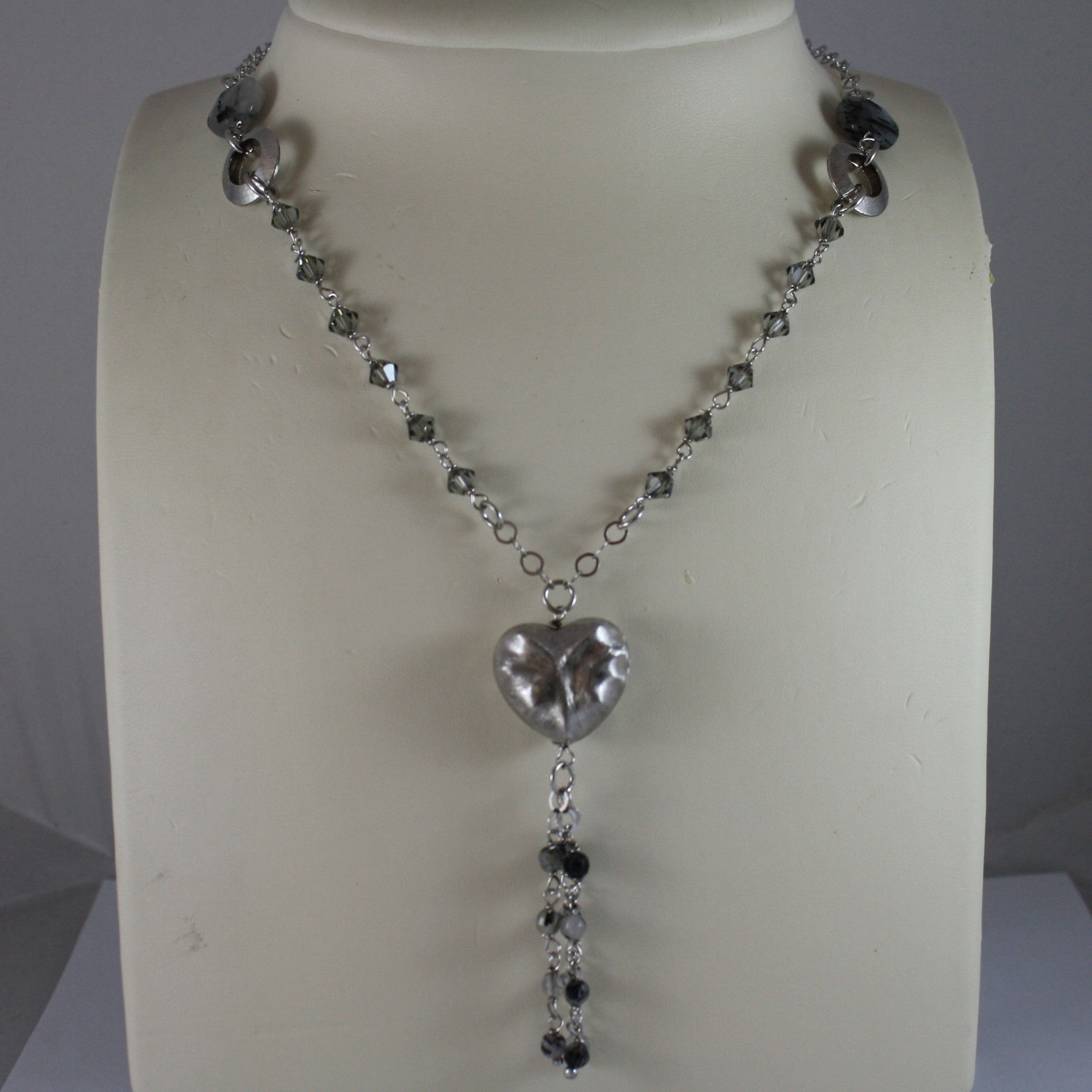 .925 SILVER RHODIUM NECKLACE WITH GRAY QUARTZ, GRAY CRYSTALS AND HEART PENDANT