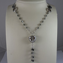 .925 SILVER RHODIUM NECKLACE WITH GRAY QUARTZ, GRAY CRYSTALS AND HEART PENDANT image 1
