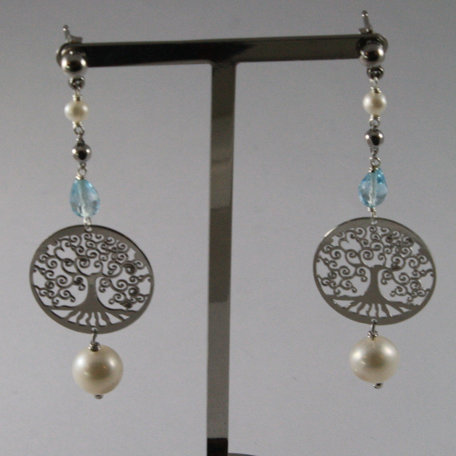 .925 RHODIUM SILVER EARRINGS WITH DROP BLUE TOPAZ, FW PEARLS AND TREE OF LIFE