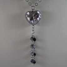 .925 SILVER RHODIUM NECKLACE WITH GRAY QUARTZ, GRAY CRYSTALS AND HEART PENDANT image 3