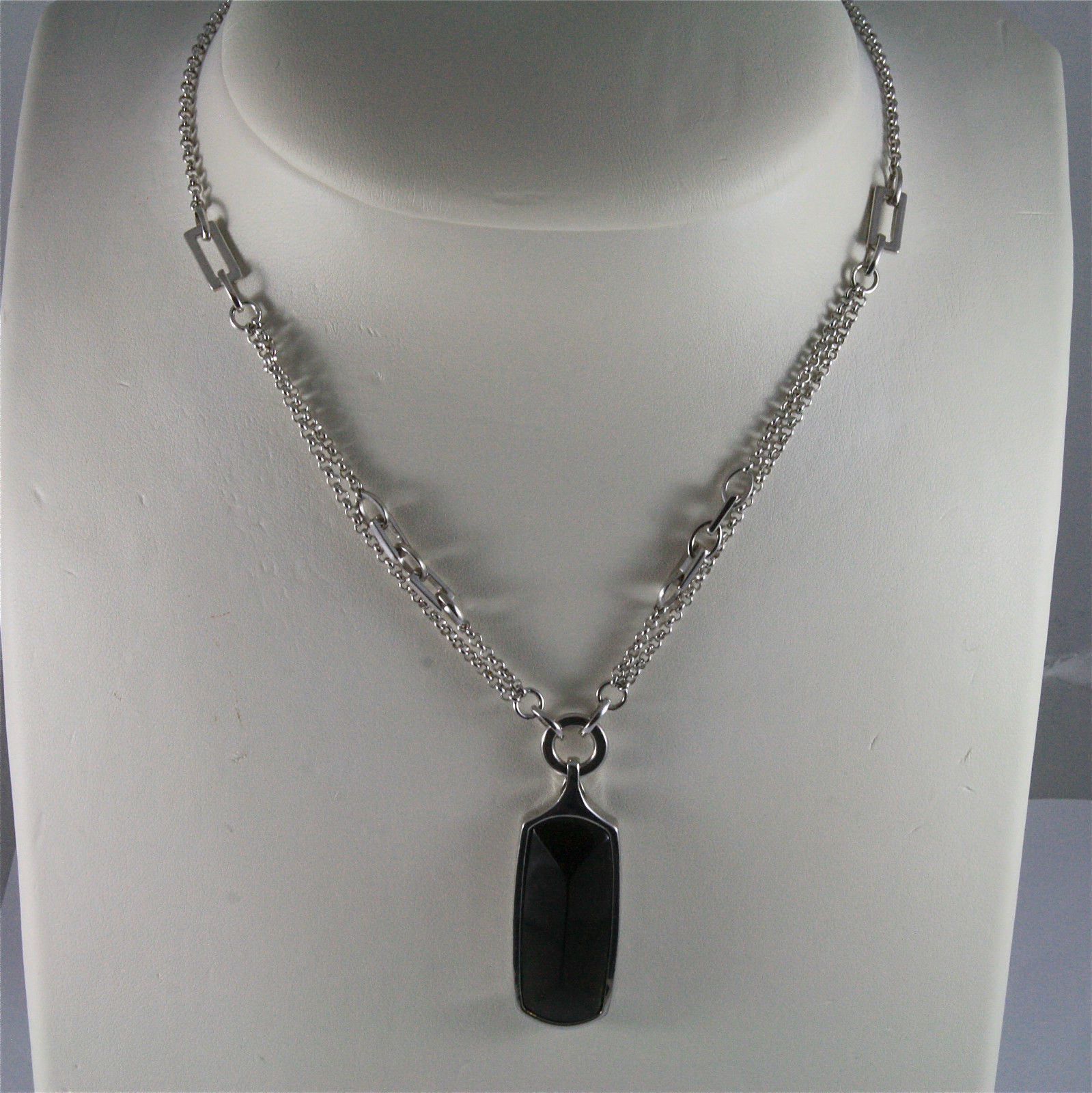 .925 SILVER RHODIUM NECKLACE, 17,72 In, DOUBLE CHAIN, SMOKING QUARTZ PENDANT.