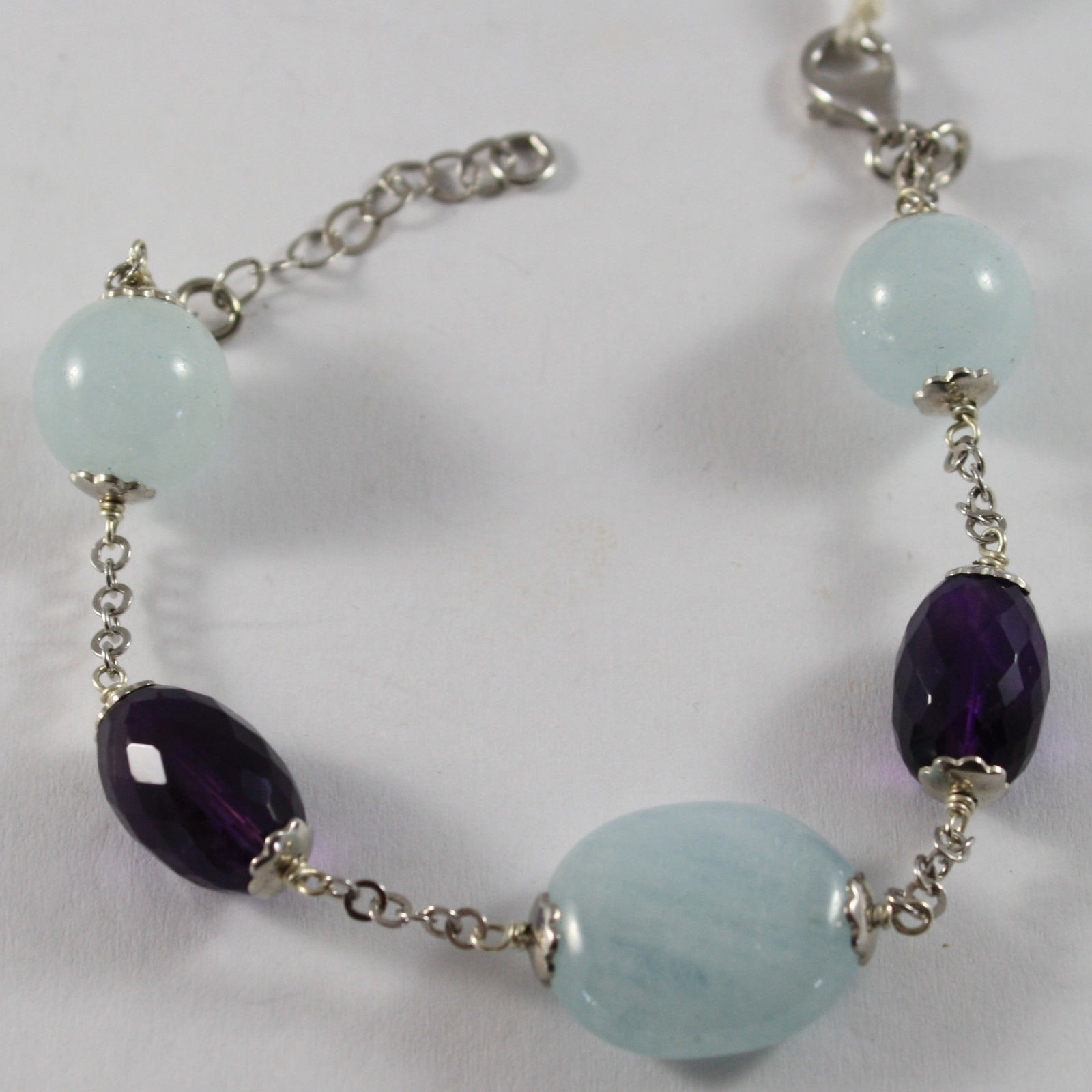 .925 RHODIUM SILVER BRACELET WITH AMETHYST AND AQUAMARINE