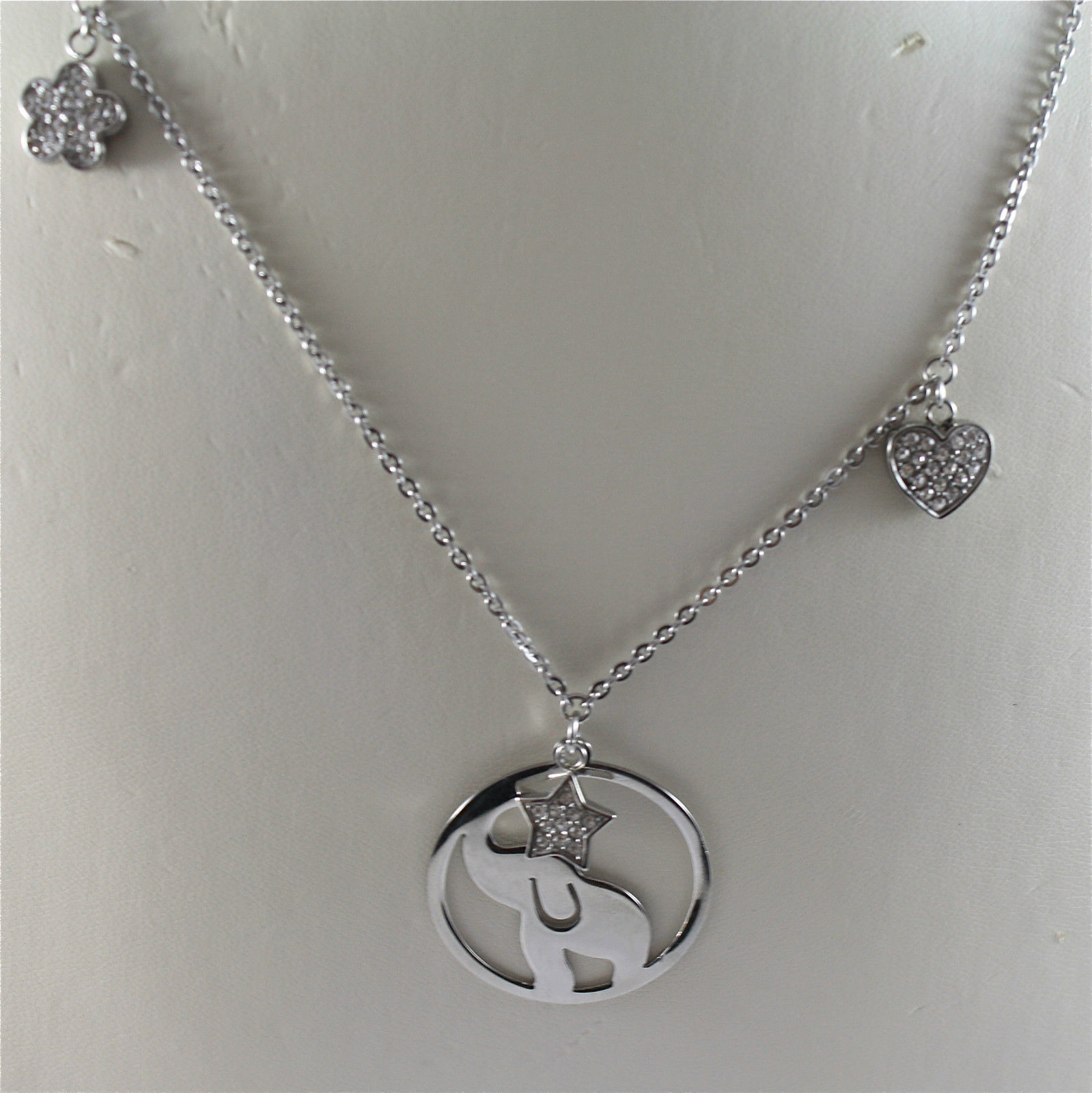 S'AGAPO' NECKLACE, 316L STEEL, ELEPHANT AND STAR, CHARMS, FACETED CRYSTALS.