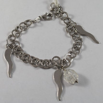 .925 RHODIUM SILVER BRACELET WITH CRISTAL TRANSPARENT AND SILVER HORNS image 1