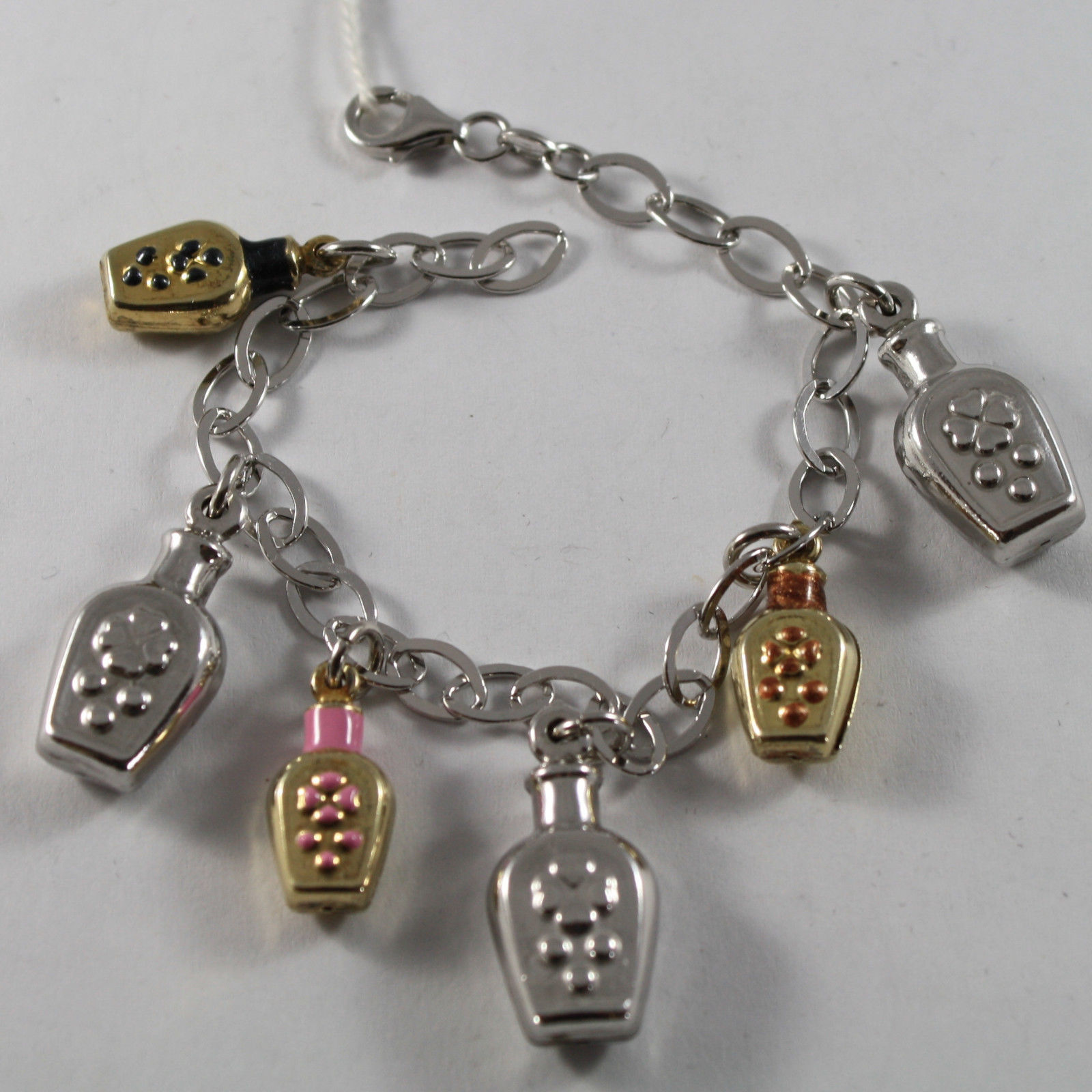 .925 RHODIUM SILVER AND YELLOW GOLD PLATED BRACELET WITH GLAZED BOTTLES