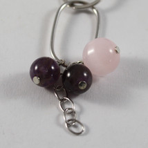 .925 RHODIUM SILVER BRACELET WITH PINK CRISTAL AND AMETHYST image 2