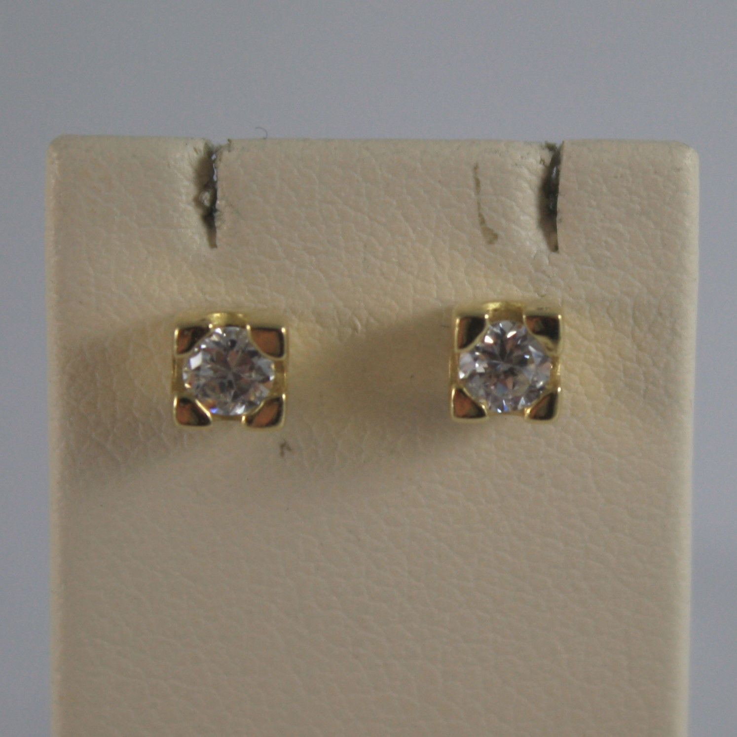 SOLID 18K YELLOW GOLD EARRINGS, ZIRCONIA, WIDTH 0,16 IN, MADE IN ITALY