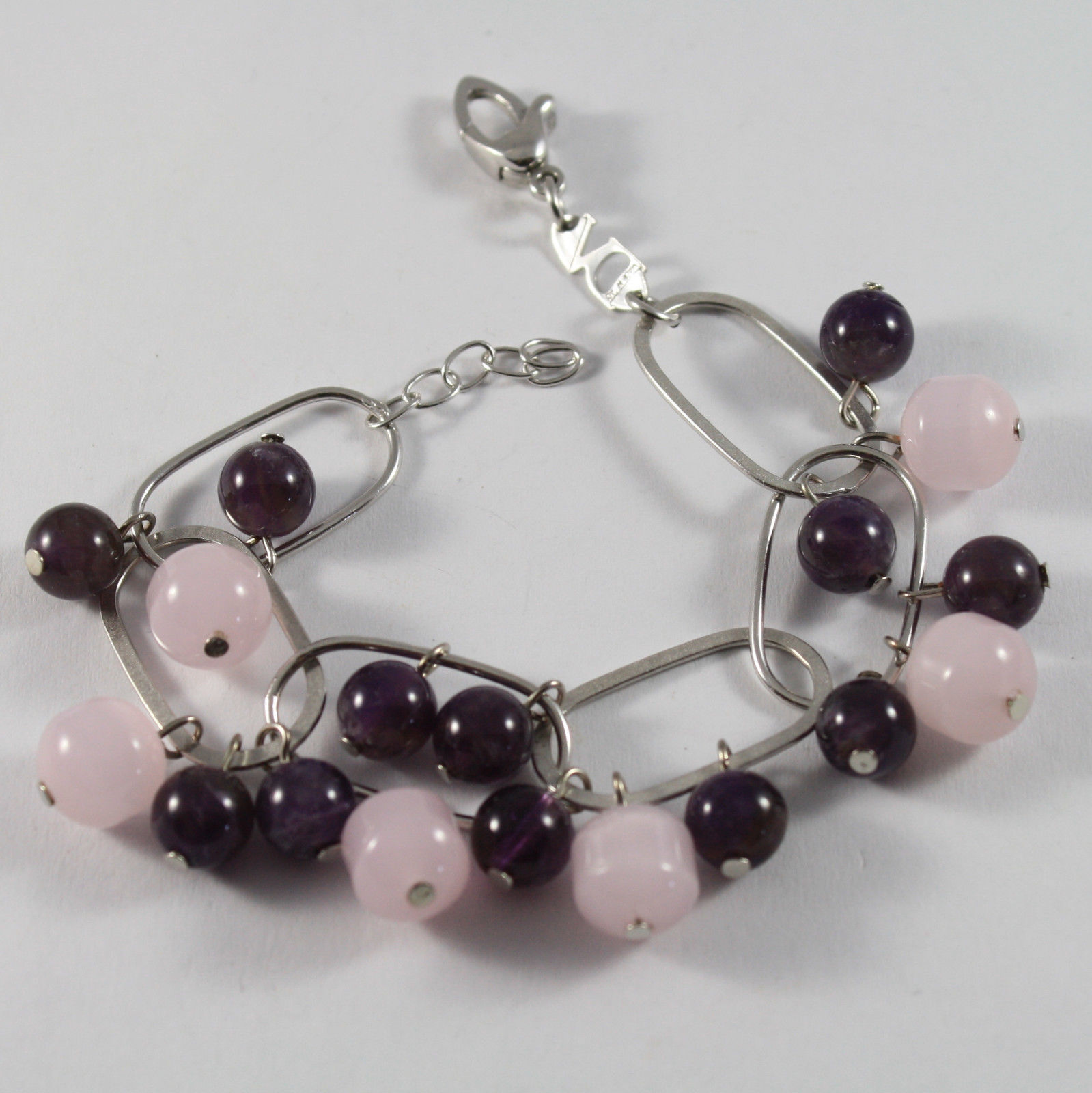 .925 RHODIUM SILVER BRACELET WITH PINK CRISTAL AND AMETHYST