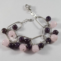 .925 RHODIUM SILVER BRACELET WITH PINK CRISTAL AND AMETHYST image 1