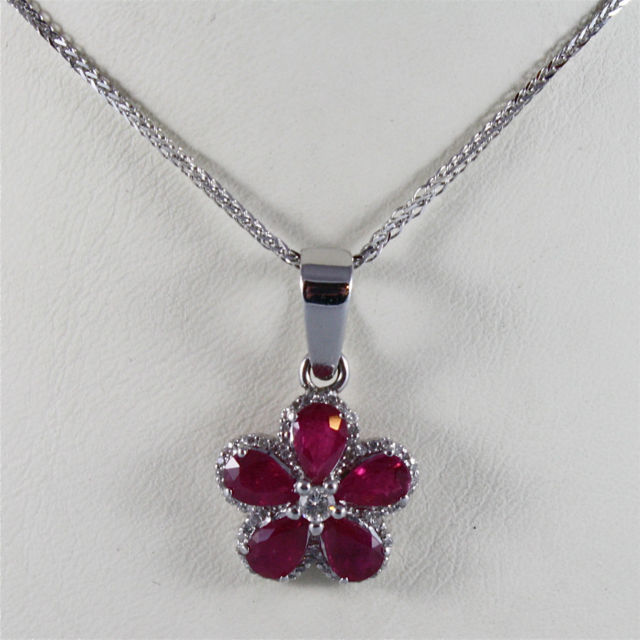 18K WHITE GOLD NECKLACE FLOWER PENDANT WITH DIAMONDS CT 0.27 RUBY, MADE IN ITALY