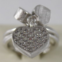 SOLID .925 RHODIUM SILVER RING HEART WITH CUBIC ZIRCONIA BY NANIS MADE IN ITALY