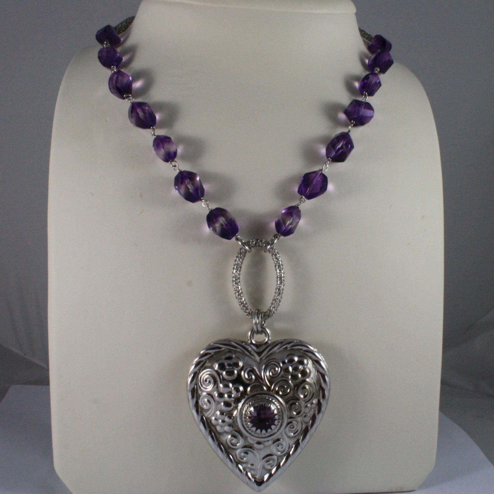 .925 SILVER RHODIUM NECKLACE WITH PURPLE CRYSTALS, HEART PENDANT AND OVAL