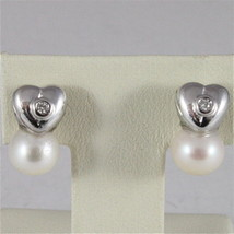 18K WHITE GOLD HEART EARRINGS WITH WHITE PEARL AND DIAMONDS, MADE IN ITALY