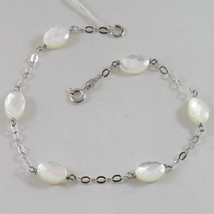 18K 750 WHITE GOLD BRACELET WITH MOTHER OF PEARL, MADE IN ITALY