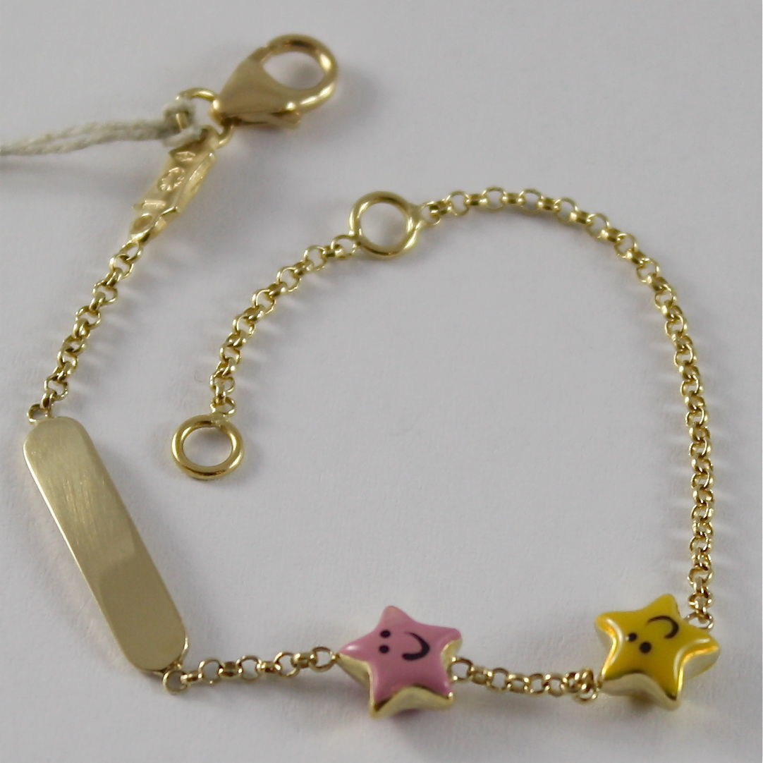 SOLID 18K YELLOW GOLD BRACELET ENGRAVING PLATE MADE IN ITALY CHILDREN STAR STARS