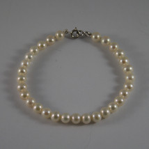 SOLID 18K WHITE GOLD BRACELET WITH FRESHWATER WHITE PEARL MADE IN ITALY  7,68 IN