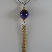.925 SILVER RHODIUM NECKLACE 17,72 In, PURPLE GLAZE BALL, ROSE PLT BALLS CHARMS image 3