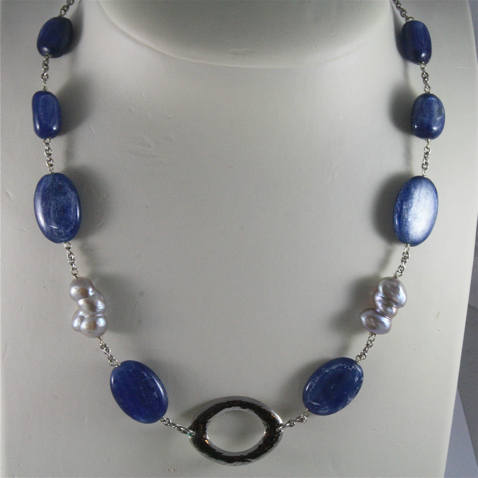 .925 SILVER RHODIUM NECKLACE 17,72 In, KYANITE, BAROQUE PEARLS, OVAL CENTRAL.