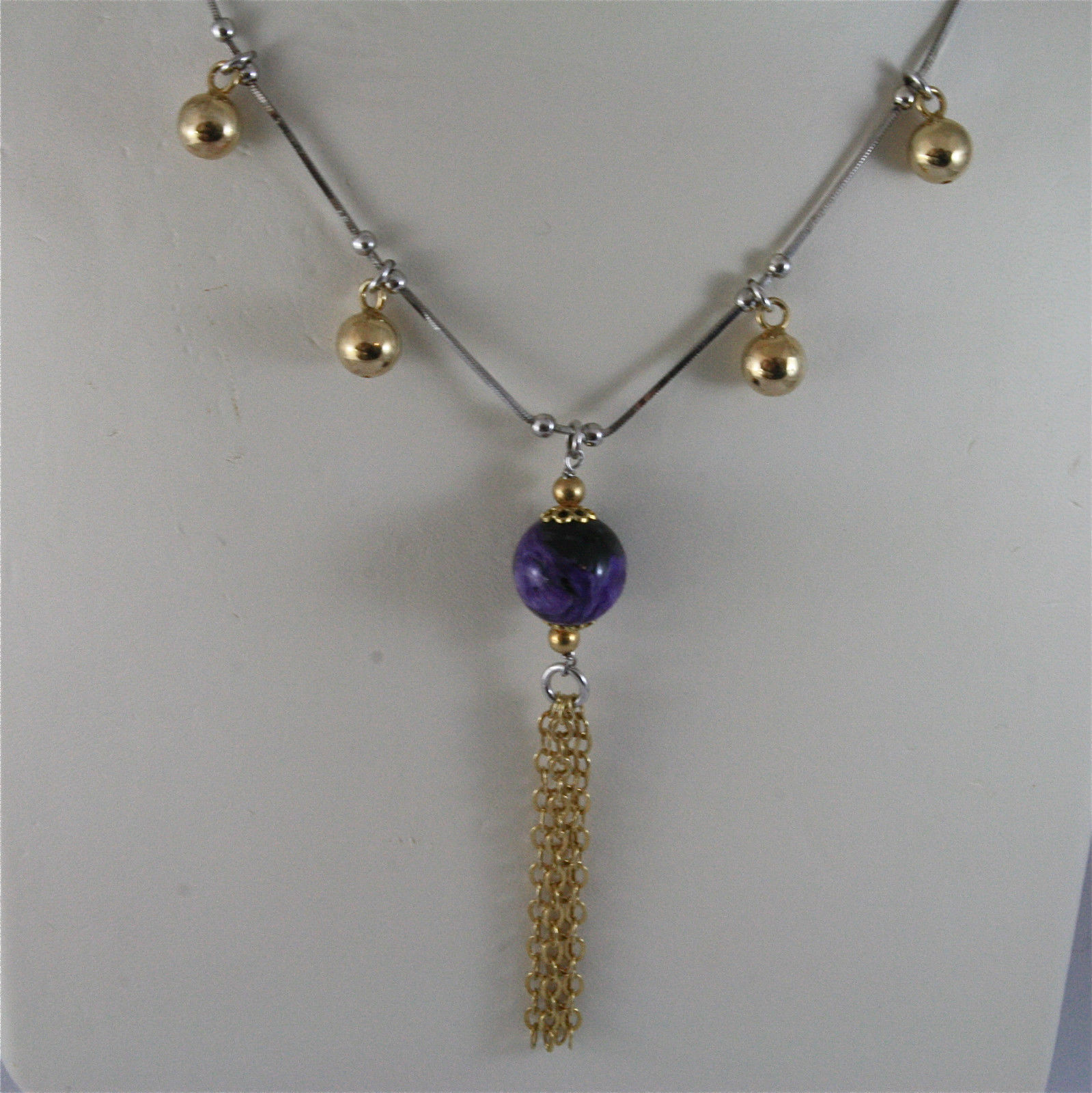 .925 SILVER RHODIUM NECKLACE 17,72 In, PURPLE GLAZE BALL, ROSE PLT BALLS CHARMS