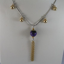 .925 SILVER RHODIUM NECKLACE 17,72 In, PURPLE GLAZE BALL, ROSE PLT BALLS CHARMS image 1