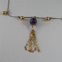 .925 SILVER RHODIUM NECKLACE 17,72 In, PURPLE GLAZE BALL, ROSE PLT BALLS CHARMS image 4