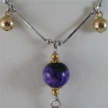 .925 SILVER RHODIUM NECKLACE 17,72 In, PURPLE GLAZE BALL, ROSE PLT BALLS CHARMS image 2